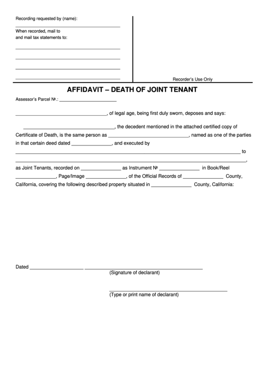 Fillable Affidavit Death Of Joint Tenant Printable pdf