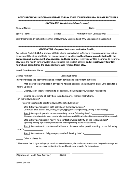Concussion Evaluation And Release To Play Form For Licensed Health Care Providers