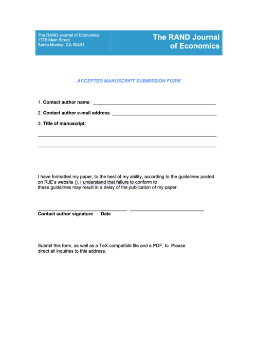 Accepted Manuscript Submission Form Printable pdf