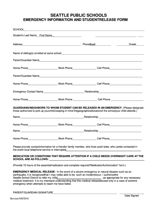 Emergency Info And Student Release Form