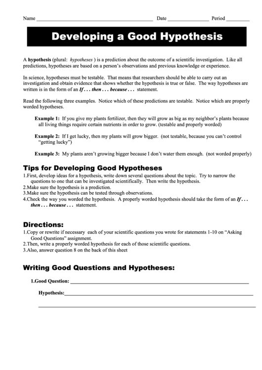 39 developing a good hypothesis 39 science worksheet printable pdf download. Black Bedroom Furniture Sets. Home Design Ideas