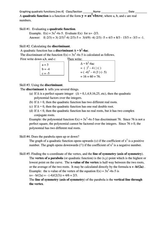 Graphing Quadratic Functions Worksheet printable pdf download