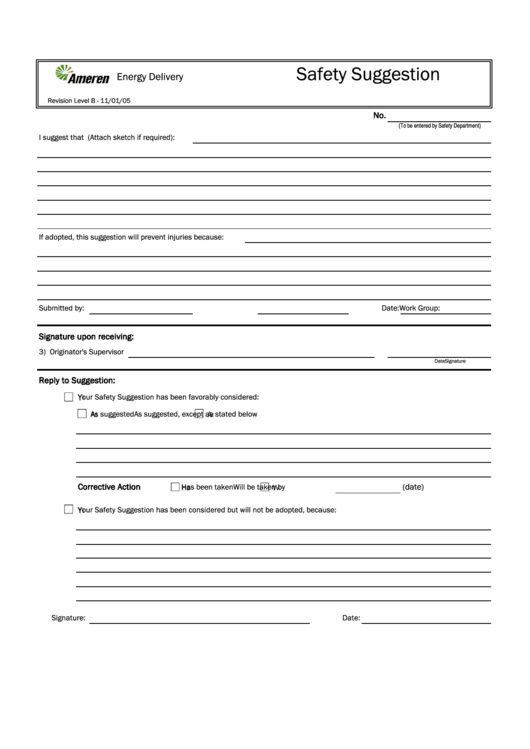 safety suggestion form printable pdf download