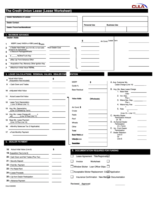 Fillable The Credit Union Lease (Lease Worksheet) Printable pdf