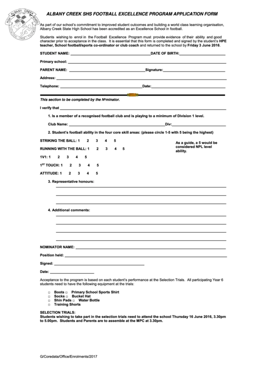 Albany Creek Shs Football Excellence Program Application Form Printable pdf