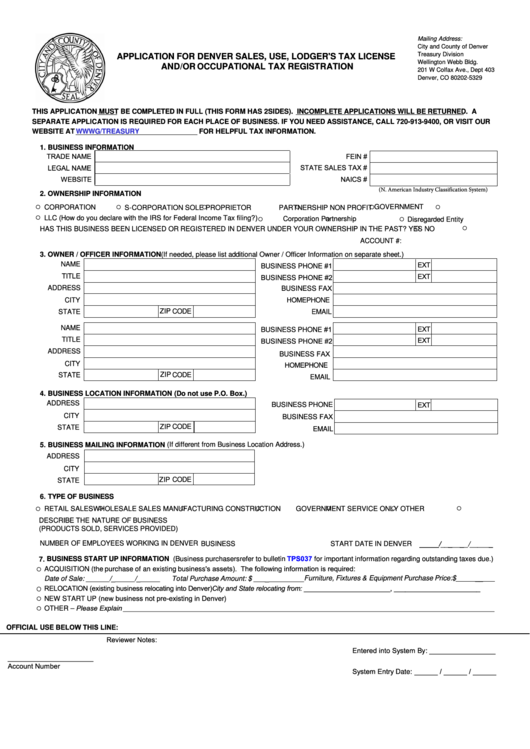 Application For Denver Sales, Use, Lodger's Tax License And/or ...