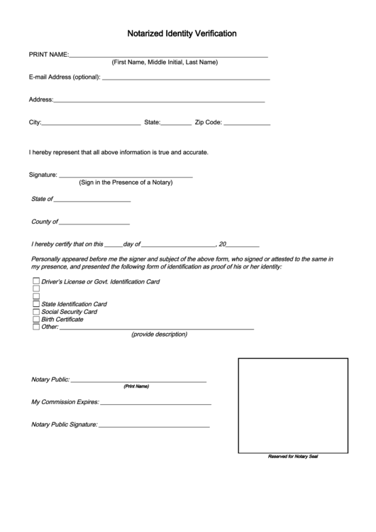 fillable notarized identity verification form printable pdf download
