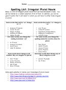 Spelling List - Irregular Plural Nouns