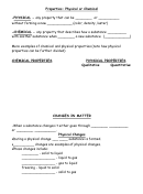 Properties: Physical Or Chemical Worksheet