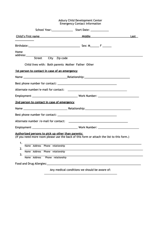 Emergency Contact Information Form  Contact Information Form Template
