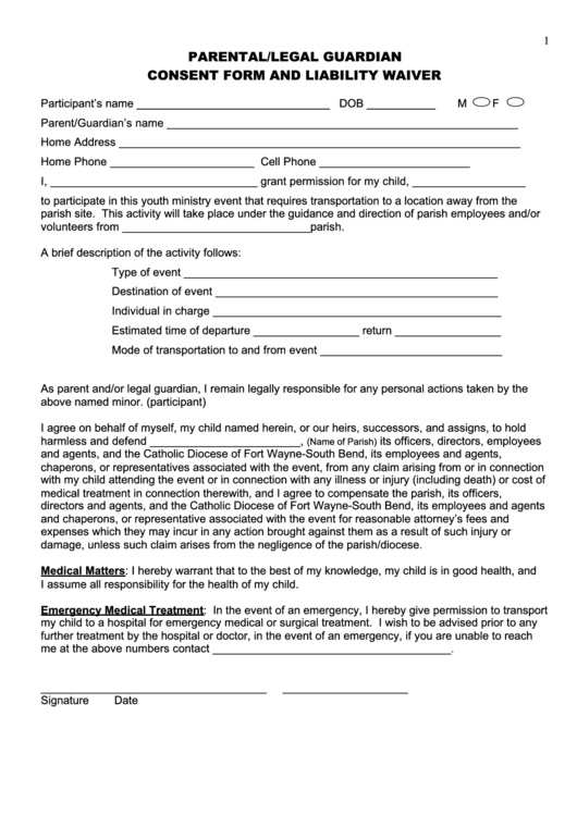participation waiver template - parental legal guardian consent form and liability waiver