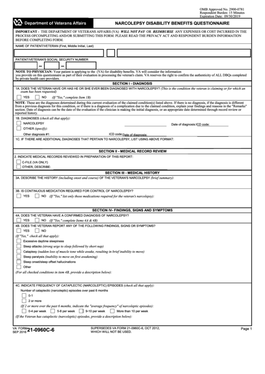 fillable va form 21 0960c 6 narcolepsy disability benefits questionnaire printable pdf download. Black Bedroom Furniture Sets. Home Design Ideas
