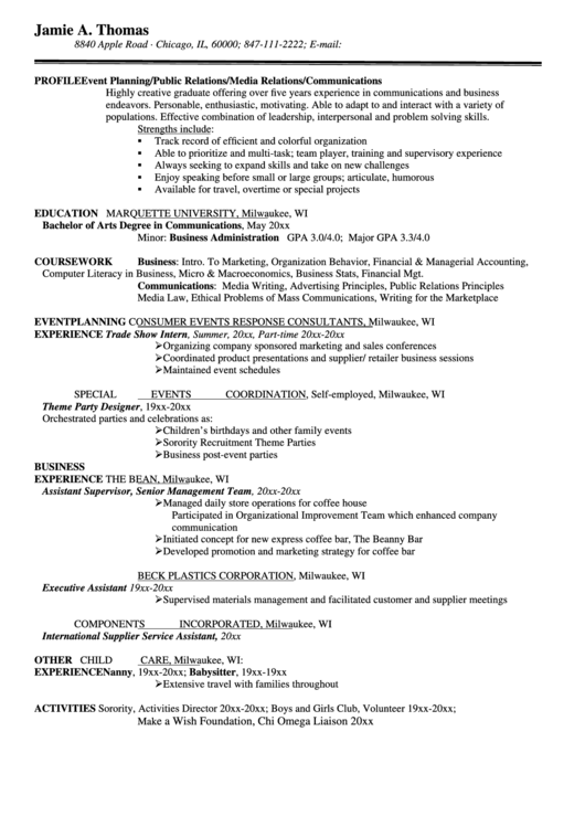 Event Planning/public Relations/media Relations/communications Resume Template Printable pdf