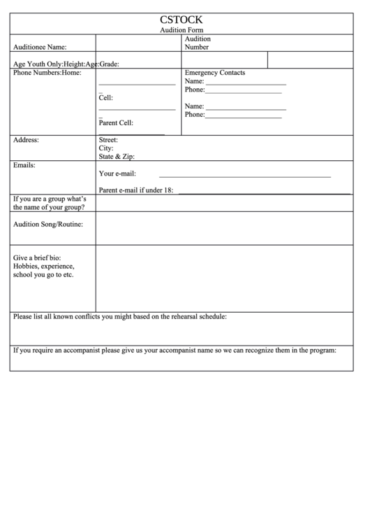 page_1_thumb_big Talent Show Auditions Application Forms on