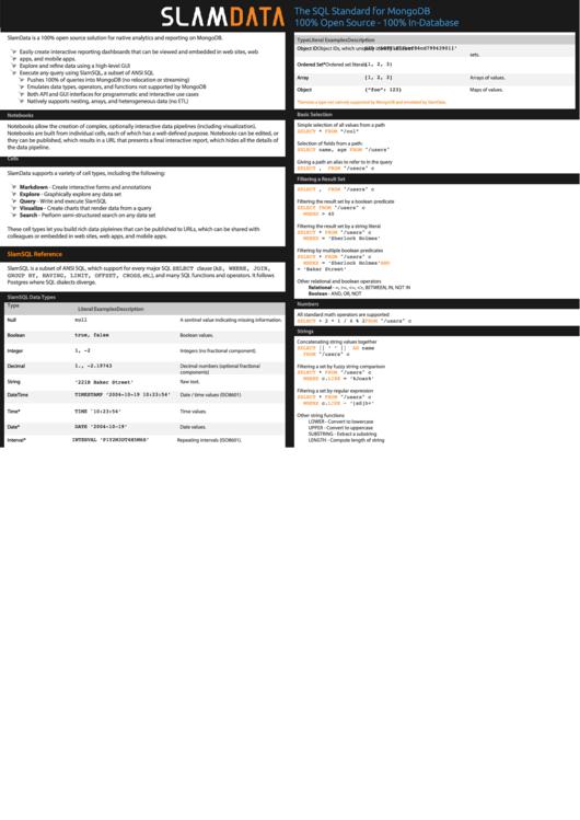 Slamdata - Mongodb Cheat Sheet Printable pdf
