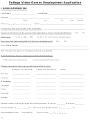 Sample Video Games Employment Application Form