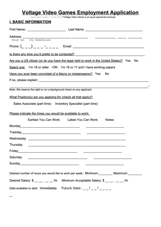 Sample Video Games Employment Application Form Printable pdf