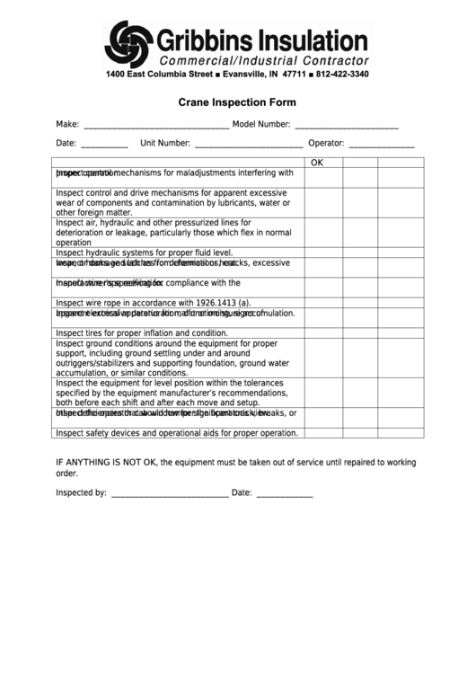 Crane Inspection Checklist Template printable pdf download