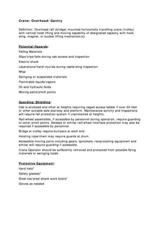 Overhead/gantry Crane Inspection Checklist Template printable pdf
