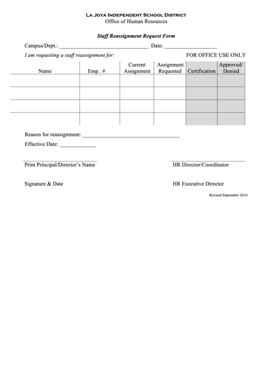 staff reassignment form printable pdf download