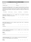 Candidate Evaluation Form Template
