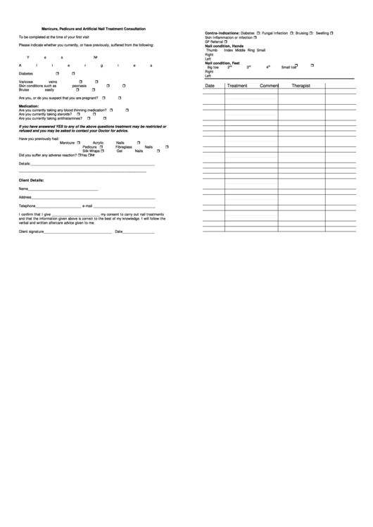 manicure  pedicure consultation form printable pdf download