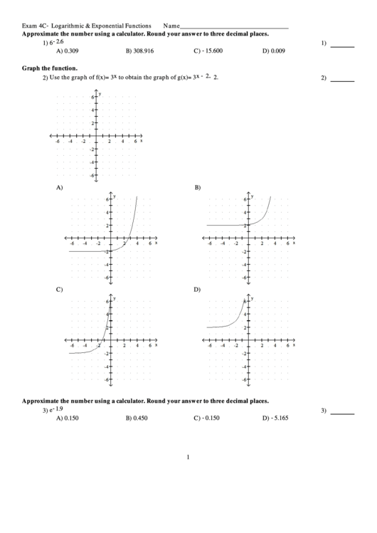 Exam 4c   Logarithmic & Exponential Functions Worksheet ...