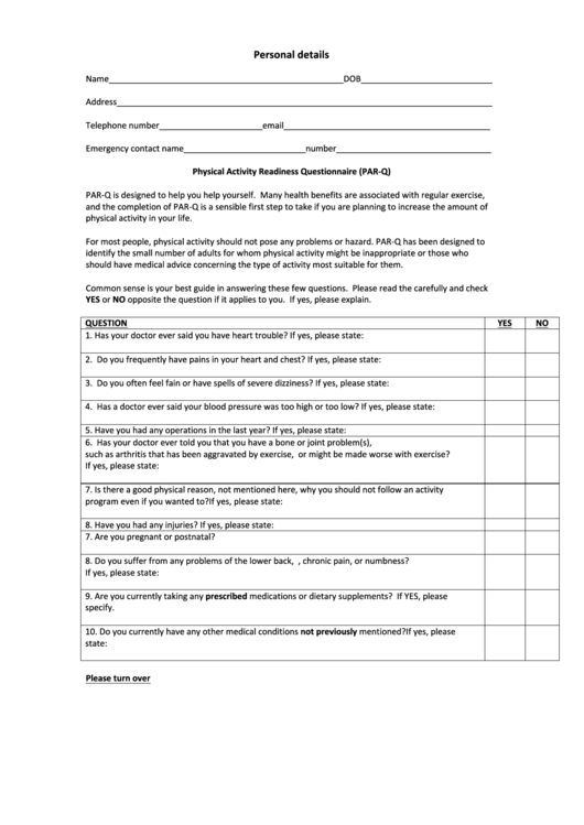 physical activity readiness questionnaire  par