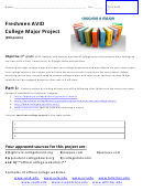 Freshmen Avid College Major Project Worksheet