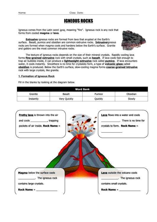 39 Igneous Rocks 39 Geology Worksheet Printable Pdf Download