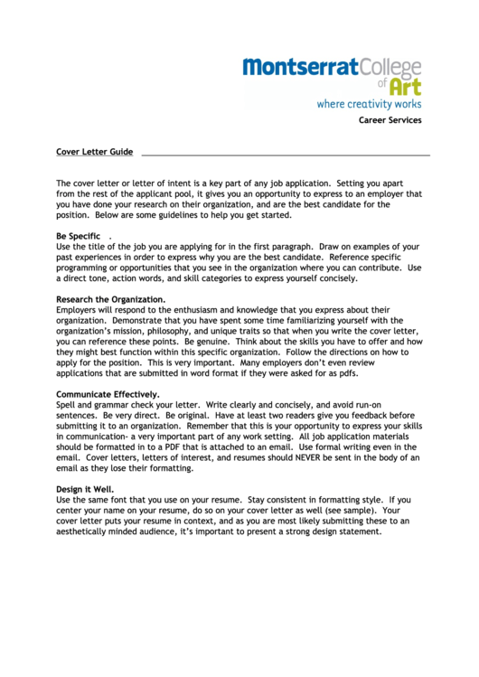 Career Services Cover Letter Guide And Template Printable pdf