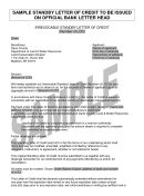 Sample Standby Letter Of Credit Template