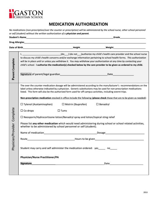 Fillable Medication Authorization Form Printable pdf
