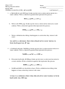 Chemistry Worksheet Template: Arrhenius Acids (with Answer Key)