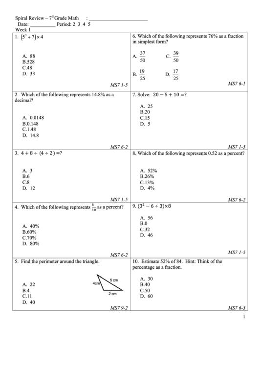 7th Grade Math Worksheet Printable Pdf Download
