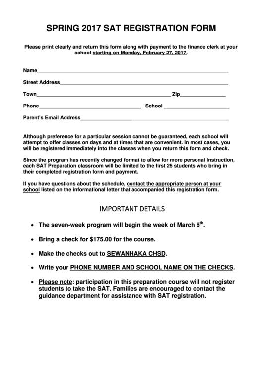 Spring 2017 Sat Registration Form printable pdf download