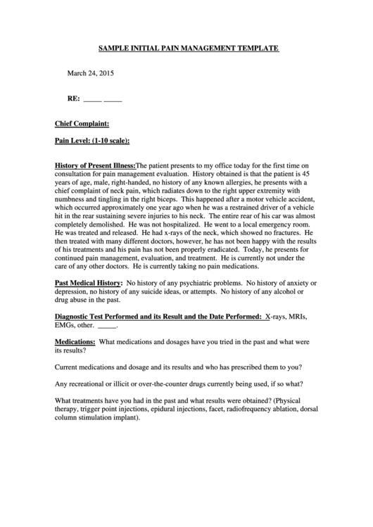 Sample initial pain management template printable pdf download for Pain management templates