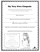 My Very Own Cinquain Poem Worksheet Template