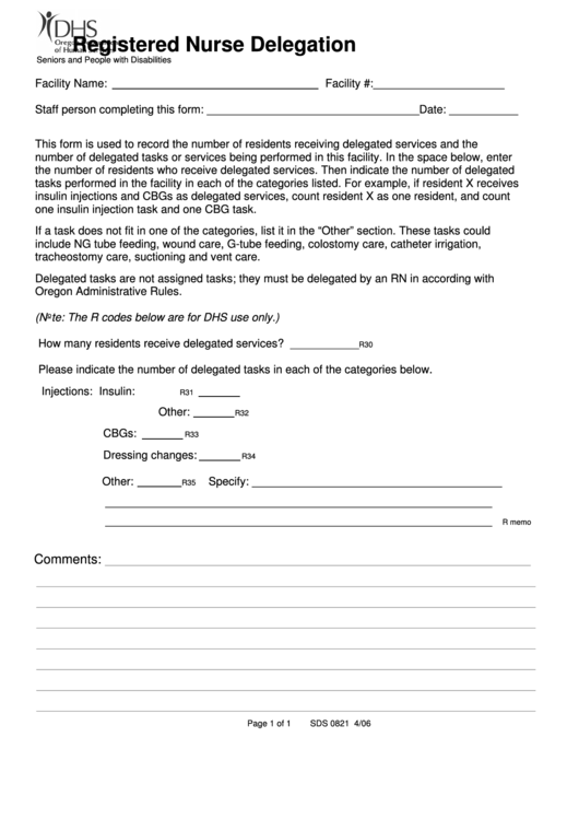 registered nurse delegation recording form