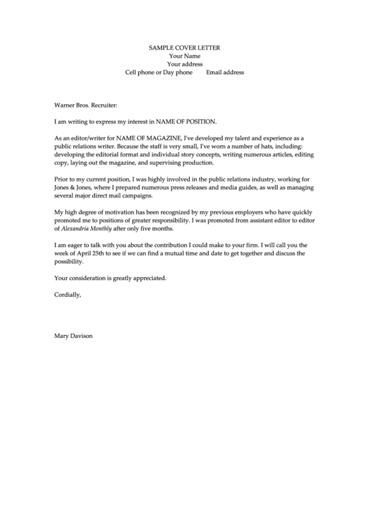 Fillable Sample Cover Letter Template Printable pdf