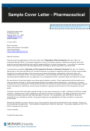 Sample Cover Letter - Pharmaceutical