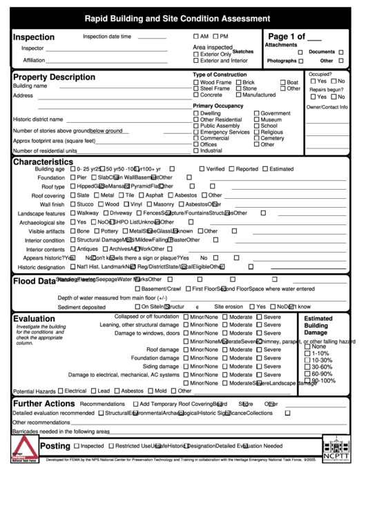 rapid building and site condition assessment form
