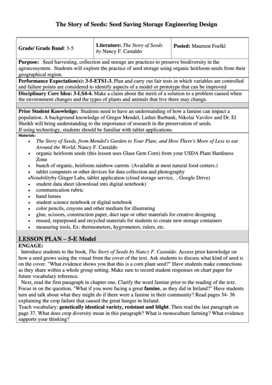Seed Saving Storage Engineering Design Lesson Plan Template