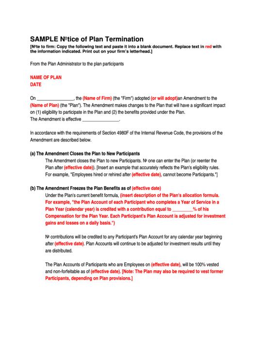 sample notice of plan termination printable pdf download