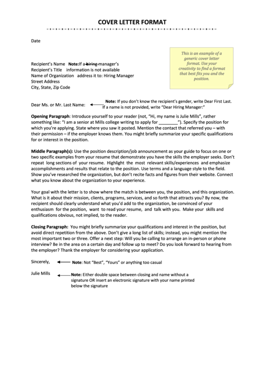 Sample Cover Letter Form Printable pdf