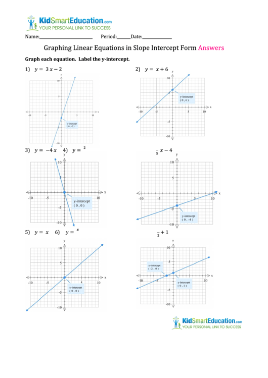 Slope Intercept Form Worksheet Pdf Images Worksheet Math For Kids
