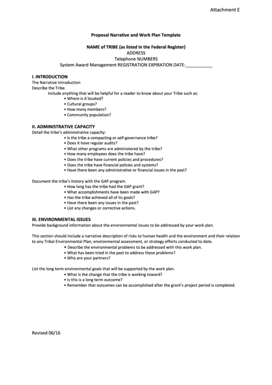 Proposal Narrative And Work Plan Template Attachment E