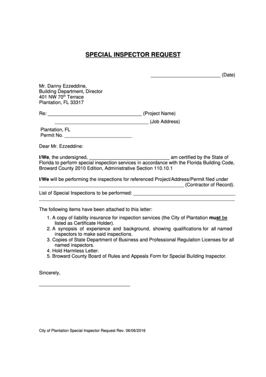 fillable special inspector request letter template