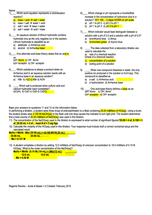Acids And Bases Worksheet Answers - Worksheet List