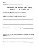 Sadako And The Thousand Paper Cranes (reading Comprehension Worksheet)